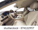 car interior luxury. beige... | Shutterstock . vector #374122957
