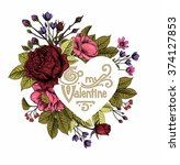 valentine's frame with vintage... | Shutterstock .eps vector #374127853