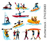 extreme water sports flat color ... | Shutterstock .eps vector #374135683