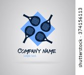 logo padel with four rackets on ... | Shutterstock .eps vector #374156113