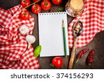 blank recipe book on a table...   Shutterstock . vector #374156293