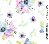 Stock photo seamless pattern with flowers watercolor gentle colors female pattern handmade 374192197