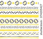 vector hand drawn tribal boho... | Shutterstock .eps vector #374205427