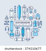 Skateboarding Line Icons Set