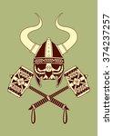 viking skull with horned helmet ...   Shutterstock .eps vector #374237257