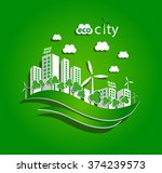 green eco city with private... | Shutterstock .eps vector #374239573