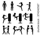 men doing martial arts spar and ... | Shutterstock .eps vector #374240587