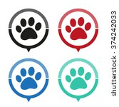 paw   vector icon  map pointer  ... | Shutterstock .eps vector #374242033
