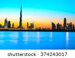 dubai skyline at dusk  uae. | Shutterstock . vector #374243017