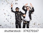 two young men dancing on party   Shutterstock . vector #374270167
