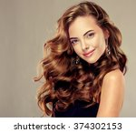 beautiful girl with long wavy... | Shutterstock . vector #374302153