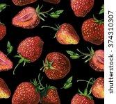 seamless watercolor strawberry  ... | Shutterstock . vector #374310307