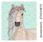 cute horse with flowers... | Shutterstock .eps vector #374314873
