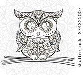 Hand Drawn Black And White Owl...