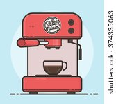 coffee machine with a hot... | Shutterstock .eps vector #374335063