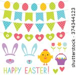 easter decoration and design... | Shutterstock .eps vector #374344123