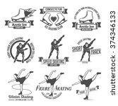 ice skate label logo design.... | Shutterstock .eps vector #374346133