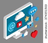 social media flat 3d isometric... | Shutterstock .eps vector #374351503