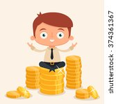 cute cartoon businessman... | Shutterstock .eps vector #374361367