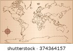 retro world map | Shutterstock .eps vector #374364157