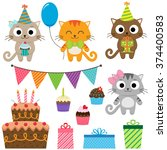 set of birthday party elements... | Shutterstock . vector #374400583
