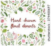 vector set of hand drawn floral ... | Shutterstock .eps vector #374400697