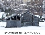 Old Sheds In The Snow In...