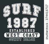 t shirt print design. surf... | Shutterstock .eps vector #374413717