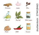 spices objects collection.... | Shutterstock .eps vector #374418463