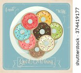 set of sweet colorful donuts | Shutterstock .eps vector #374419177
