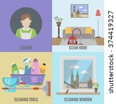 cleaning service and  cleane... | Shutterstock .eps vector #374419327