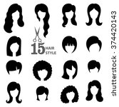 hairstyle silhouette.woman girl ... | Shutterstock .eps vector #374420143