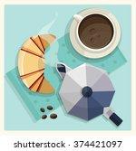 breakfast poster. vector... | Shutterstock .eps vector #374421097