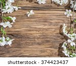 blooming cherry twig over old... | Shutterstock . vector #374423437