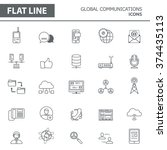 set of modern simple line icons ... | Shutterstock .eps vector #374435113