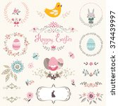 happy easter ornate set with...