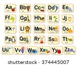 cute alphabet. letters and... | Shutterstock . vector #374445007