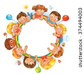 happy children holding blank... | Shutterstock .eps vector #374494003
