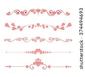 set calligraphic valentine's... | Shutterstock . vector #374494693