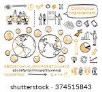 business doodle set. vector... | Shutterstock .eps vector #374515843