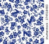 hibiscus orient lion pattern | Shutterstock .eps vector #374518483