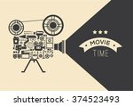 composition with cinema... | Shutterstock .eps vector #374523493