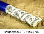 roll of  2 bills is a shipping... | Shutterstock . vector #374526703