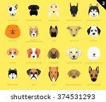 dog faces icon cartoon 2 | Shutterstock .eps vector #374531293