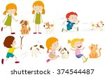 Stock vector girl and boy playing with dog illustration 374544487