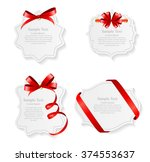 card with red ribbon and bow... | Shutterstock .eps vector #374553637