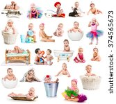 collage of funny babies with... | Shutterstock . vector #374565673