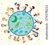 children love science around...   Shutterstock .eps vector #374578213