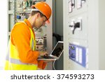experienced electrician working ... | Shutterstock . vector #374593273
