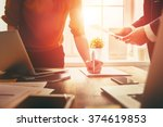 man and woman working in the... | Shutterstock . vector #374619853
